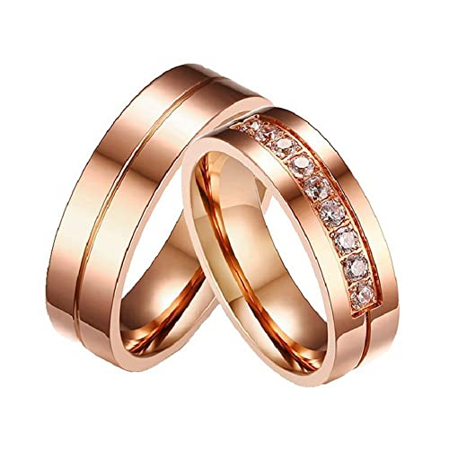 Amazon.com: ginbl 6 mm Rose Gold Plated anillo de compromiso ...