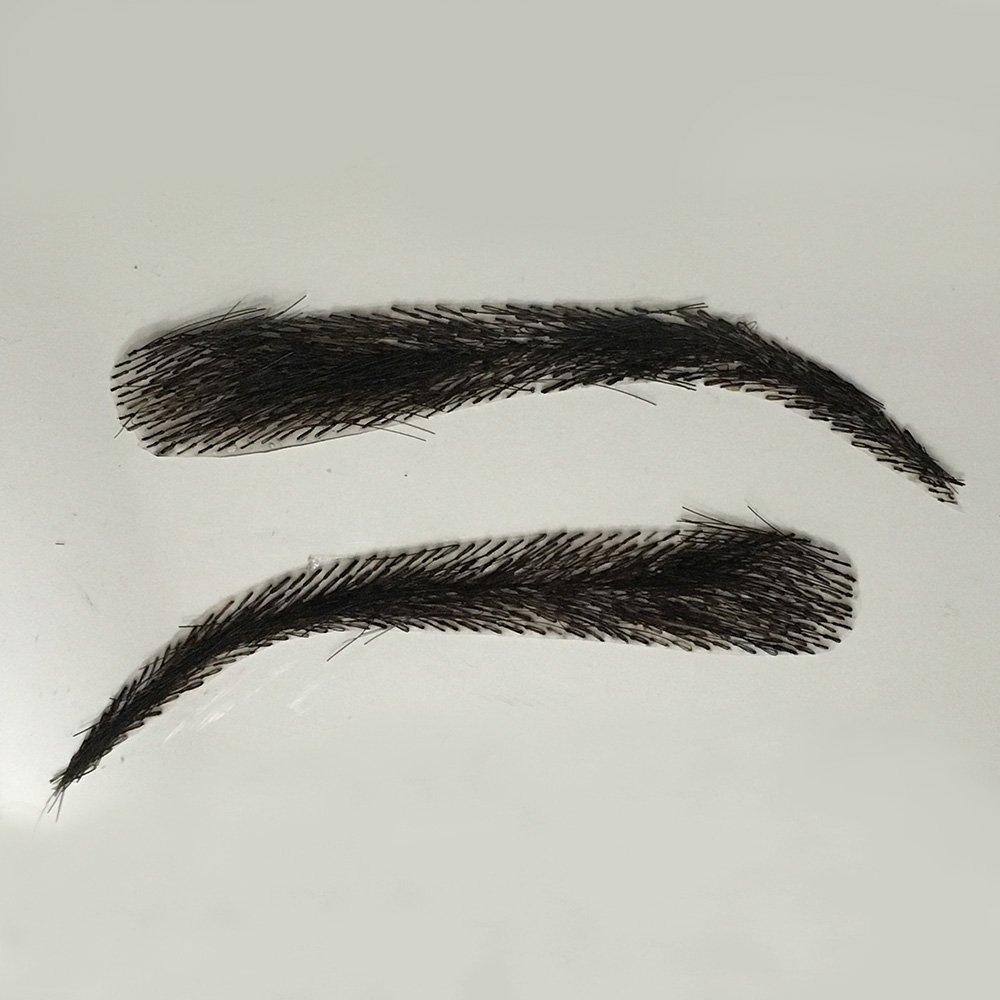 False Eyebrows, Lashybrows 100% Handmade Human Hair Re-Usable [Up to 3 Months] Silicone Base JLo Fake Eyebrows (Natural Black) INSTABROWS ILBW8