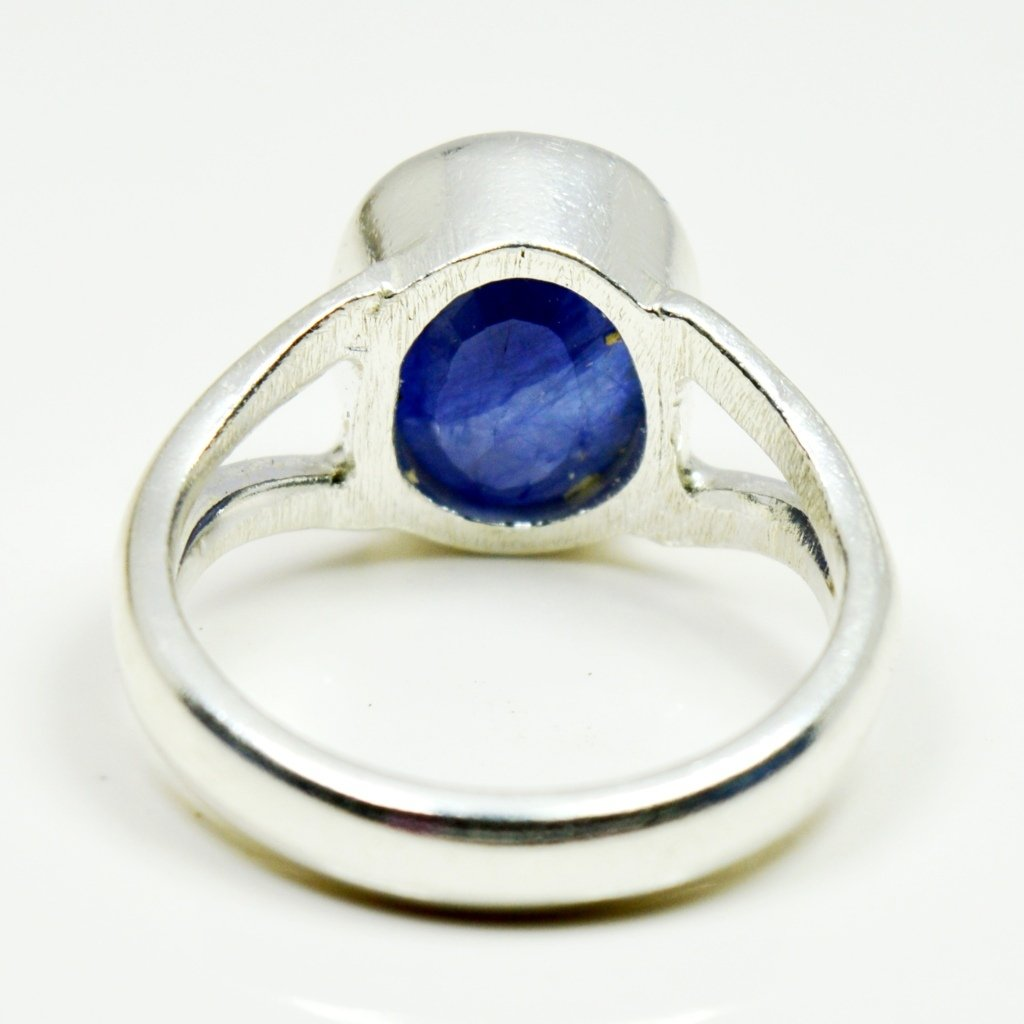 55Carat Genuine Blue Sapphire Silver Ring For Men 6 Carat Oval Astrological Size 4,5,6,7,8,9,10,11,12,13