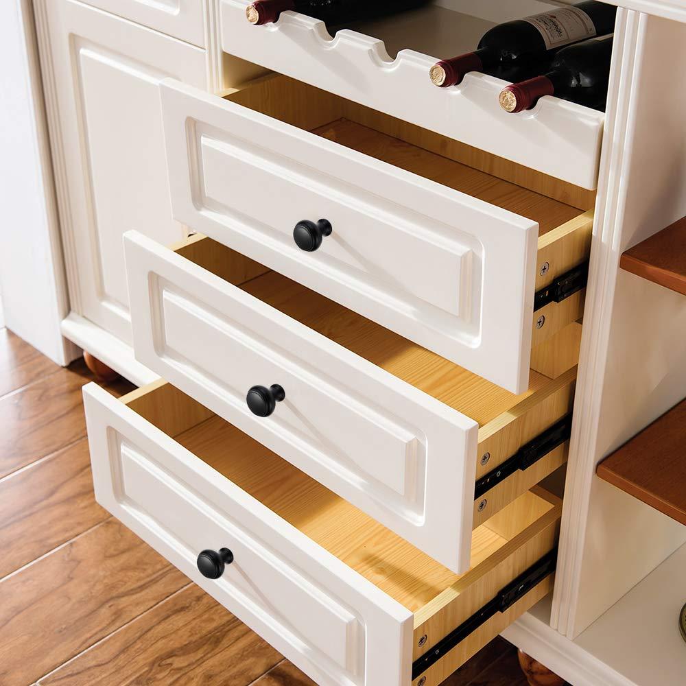 Amazer Cabinet Round Knobs S010-Black Cabinet Furniture Knobs Drawer Kitchen Cabinets Dresser Cupboard Wardrobe Knobs Pulls-1.16 Diameter 10 Pack