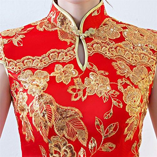 Changnanjun Trou De Serrure Paillettes Sirène Dentelle Cheongsam Robe Rouge Chinois Qipao