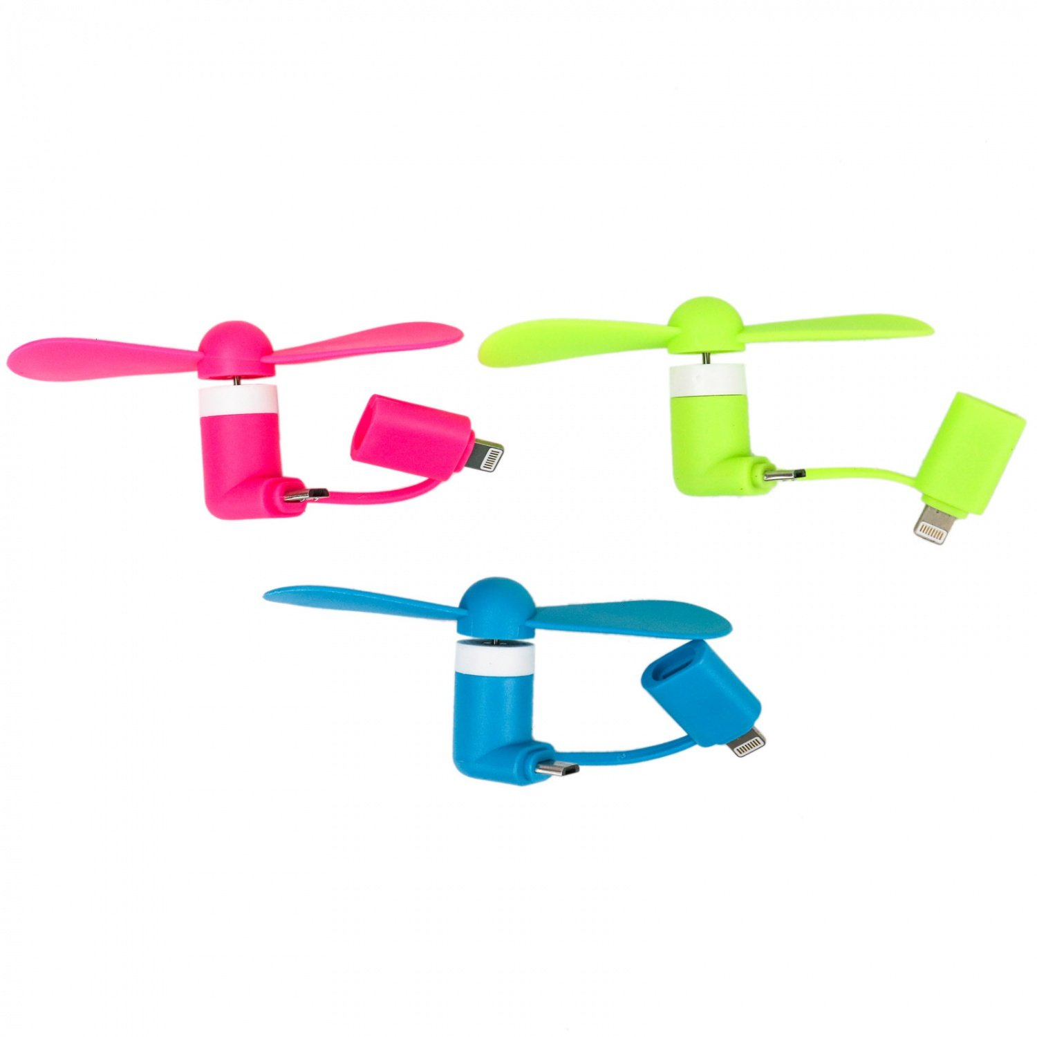 Buorsa 3 Pcs Portable Breeze Mini Phone Fan Colorful 2-in-1 for iPhone//iPad and Android Smartphone//Tablet Android Micro USB USB-C Connectors iPhone Accessories