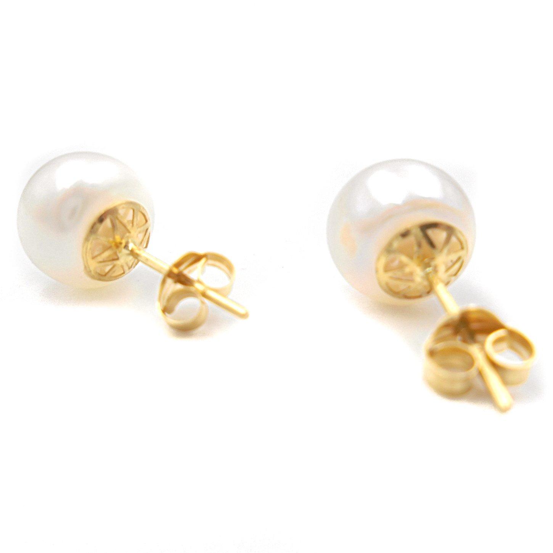 71f575f401a8 Pendientes oro 18 kilates mujer joven con perla cultivada y canastilla  calada con cierre tornillo presiones.Peso real 2.4 gramos  Amazon.es   Joyería