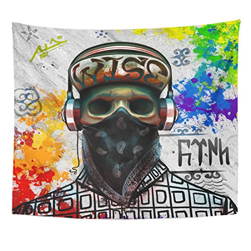 Emvency Tapestry Bandana Skull Graffiti at The Means Turk from Orkhon Home Decor Wall Hanging for Living Room Bedroom Dorm 50×60 inches
