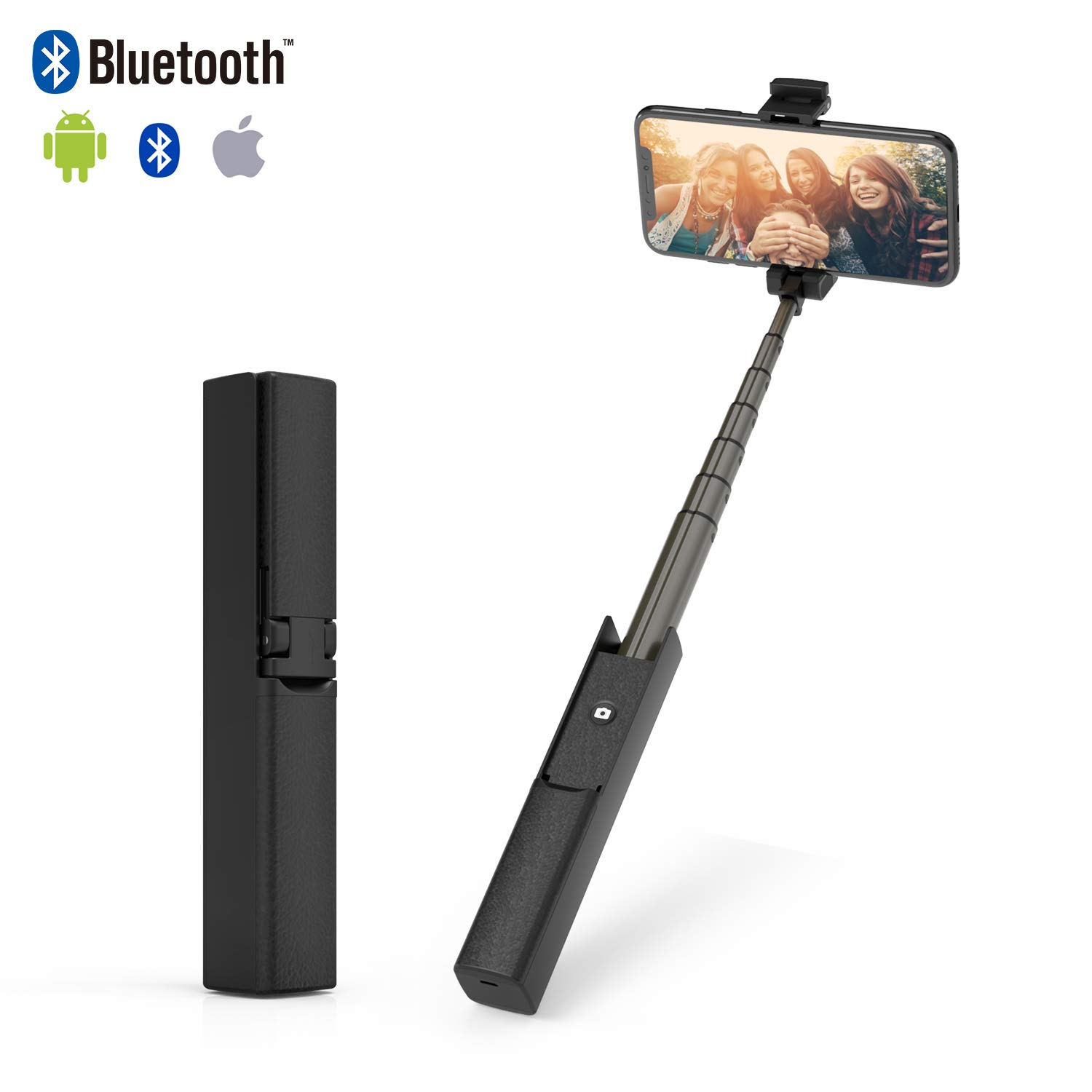 Bluetooth Selfie Stick ETROBOT All in One Design Compact Pocket Size Extendable Portable Wireless Selfie Stick for Smartphone Like iPhone X/8/8P/7/7P/6P Samsung S8/S9 ISO Android Black