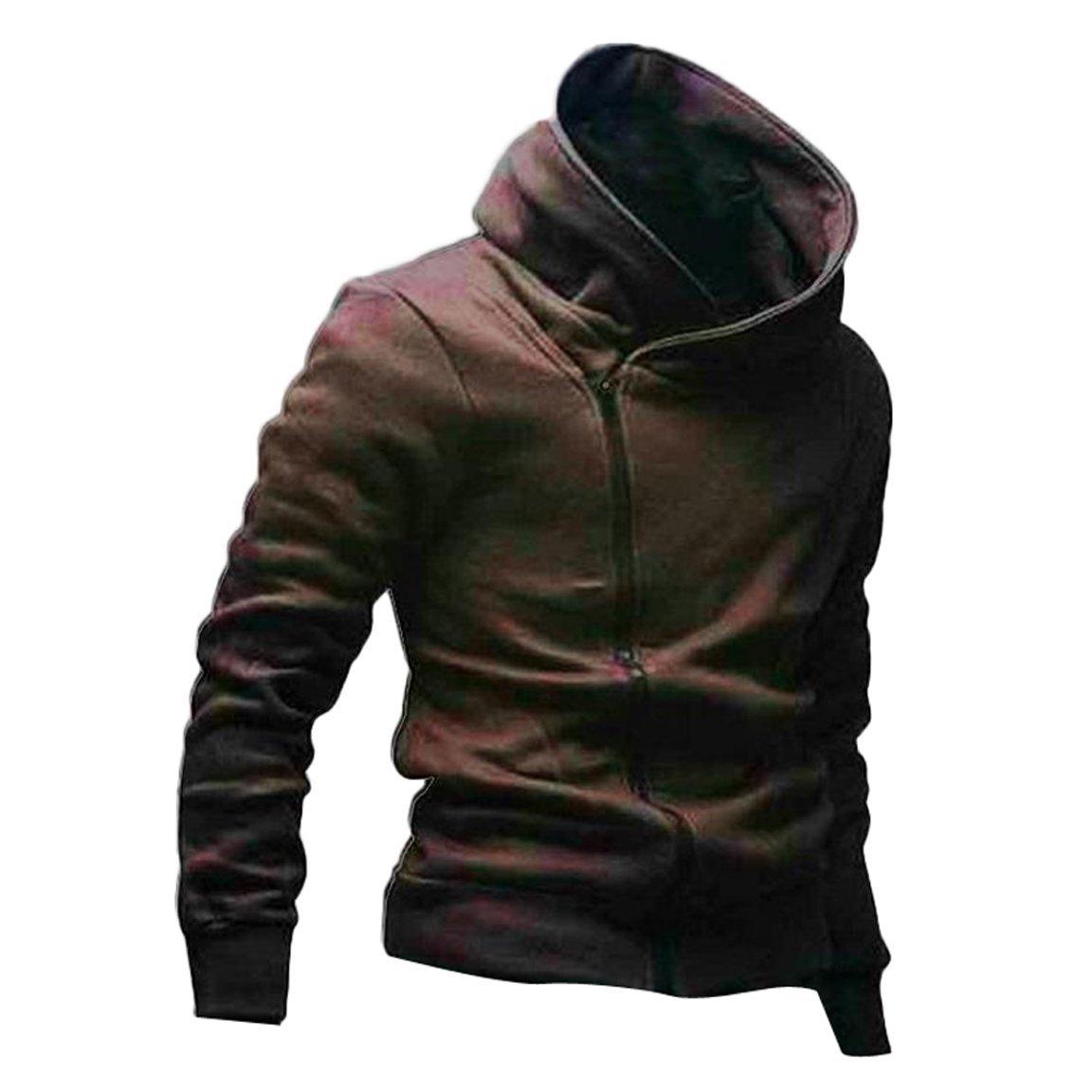 Gaorui High Collar Men Jacket Slim Dust Coat Hoodies Clothes Sweater Overcoat-XS_brown