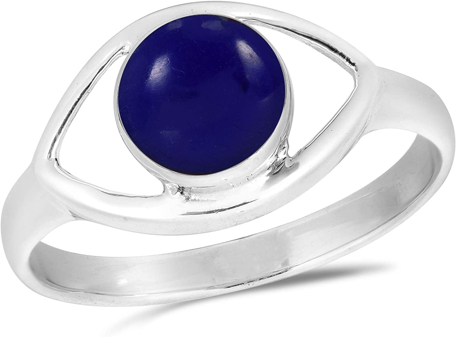 AeraVida Mystical Evil Eye with Simulated Blue Lapis Lazuli Inlay .925 Sterling Silver Ring