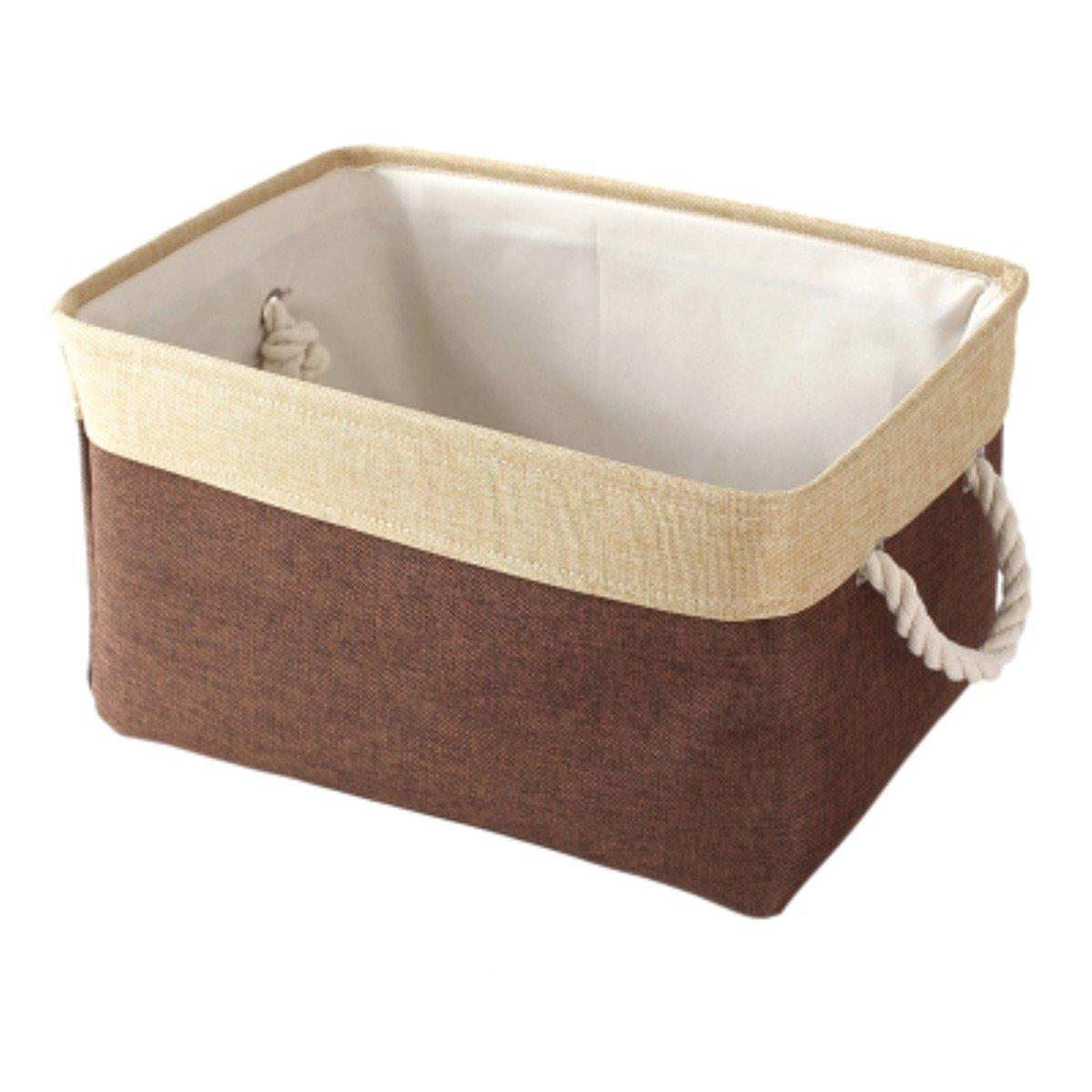 Canvos Collapsible Storage Basket Bin with Handles for Clothes Storage,Toy Organizer,Nursery Baskets,Kids Basket Baby Bin (Coffee)