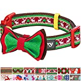 "Blueberry Pet 14 Patterns Christmas Santa Claus's Reindeer Dog Collar with Detachable Bow Tie, Medium, Neck 14.5""-20"", Adjustable Collars for Dogs"