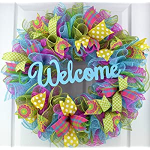 Summer Spring Welcome Door Wreath; Pink, Turquoise, Yellow, Green : P1 2