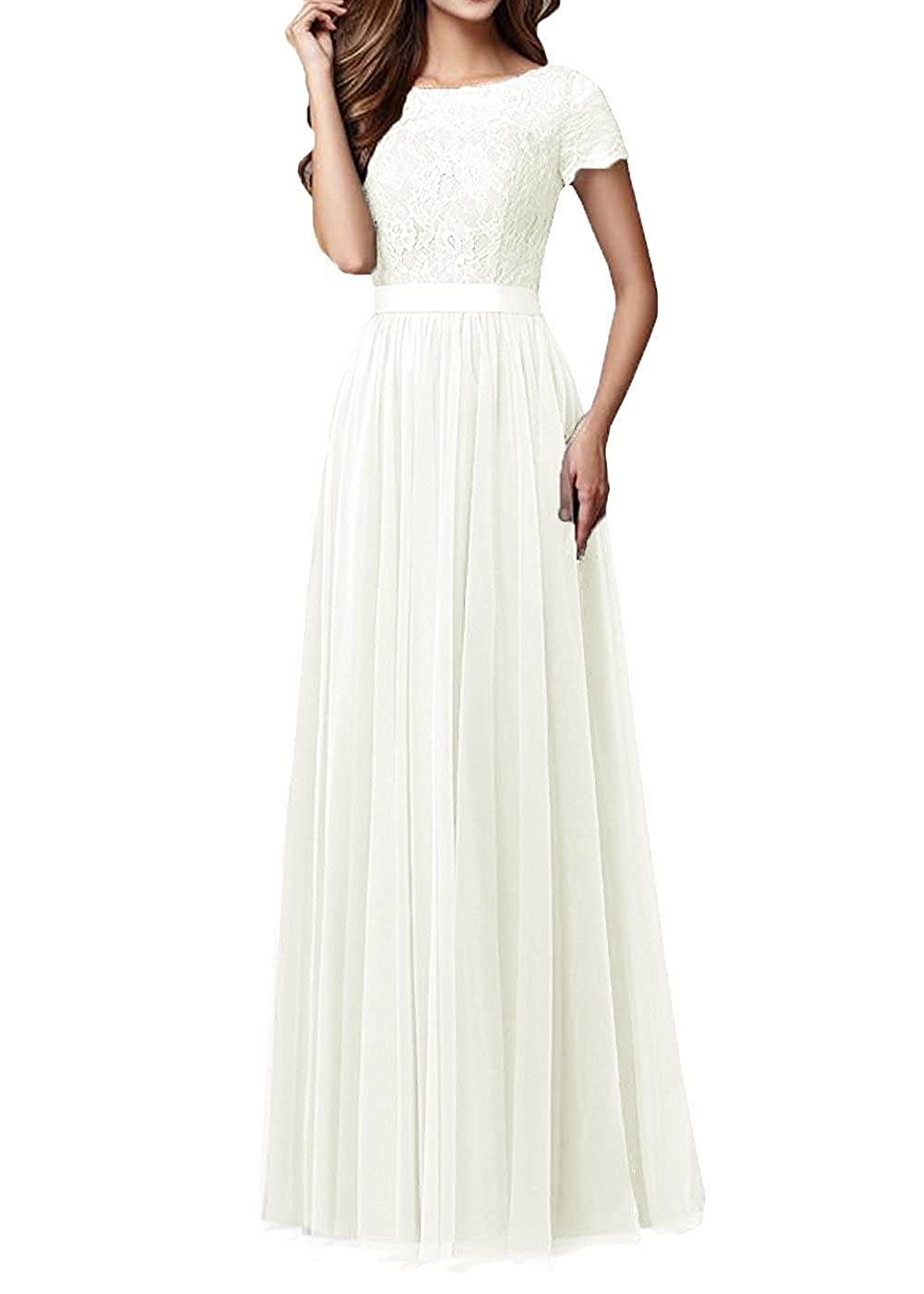 Ivory Pretygirl Womens Tulle Long Bridesmaid Dress Sleeves Lace Prom Evening Dresses