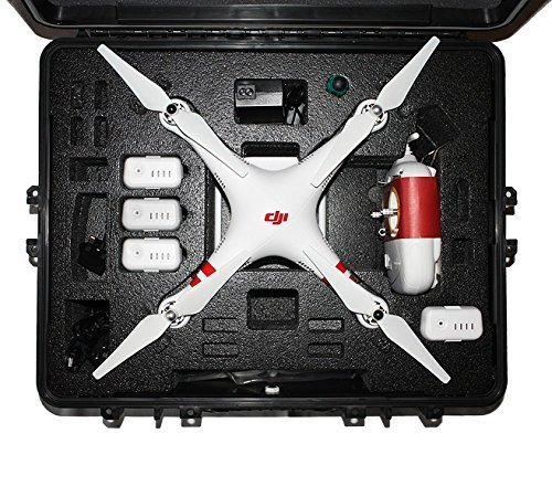 DJI Phantom 2 / 2 Vision / Vision Plus Hard Case. Military Spec., Waterproof and Airtight, Carrying Case with Foam for DJI Quadcopter and Gopro Accessories (Vision Box)
