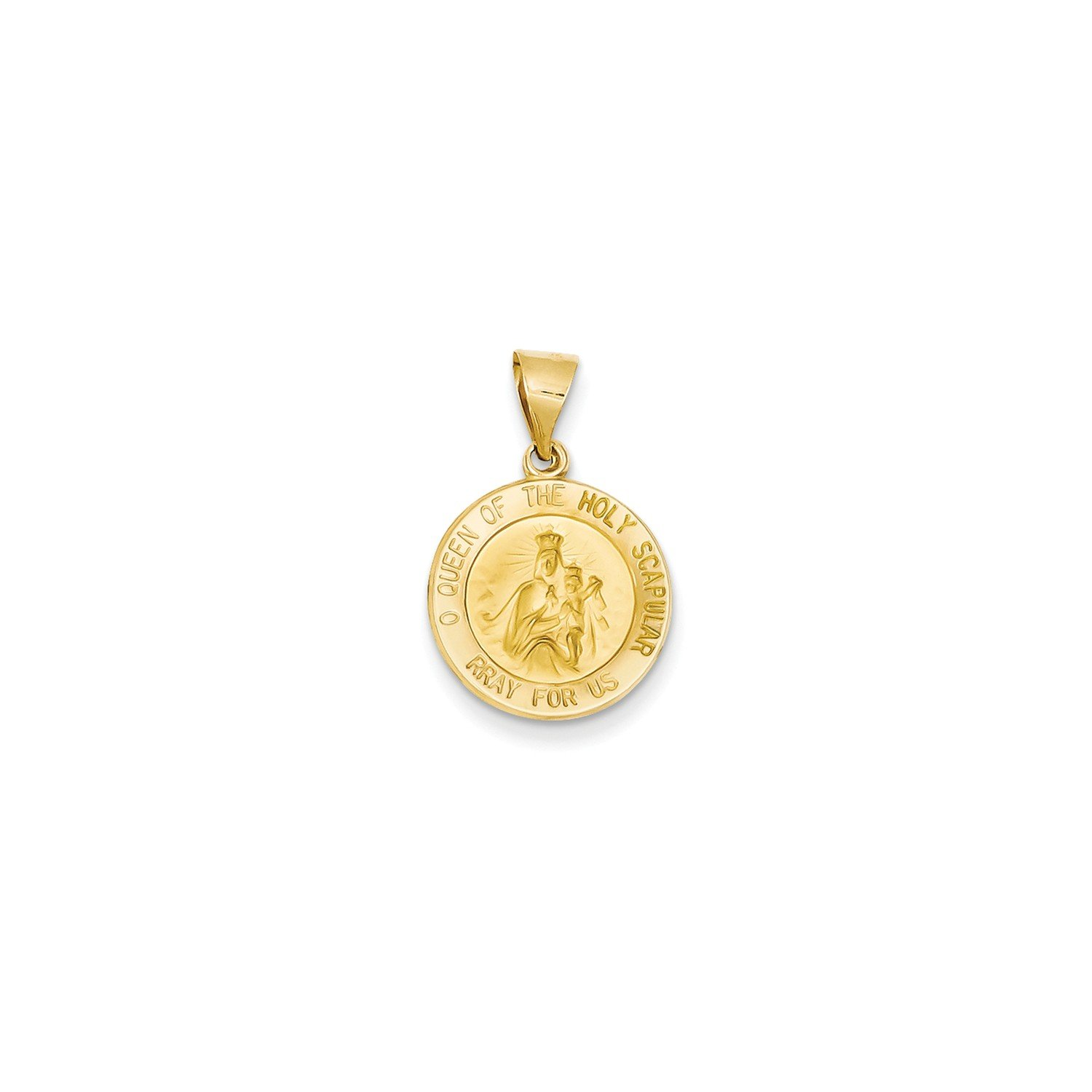 Roy Rose Jewelry 14K Yellow Gold Polished & Satin Queen of the Holy Scapular Reversible Medal Pendant