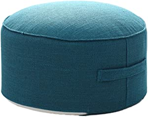 """idee-home Round Pouf Footstool for Living Room - Pouffe Ottoman for Living Room Bedroom Small Space for Kids Adults with Handle & Removable Cover 