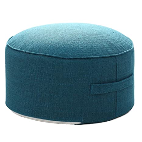 idee-home Round Pouf Foot Stools Ottomans - Small Foot Rest Pouffe for Sitting, Ottoman Pouf for Living Room Small Space for Adults and Kids, Handle ...