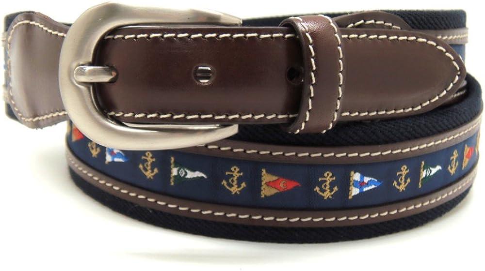 VAELLO - Cinturón de lona con motivos de banderas náuticas combinado con piel en 34mm, para hombre, color: marino, talla: 90: Amazon.es: Ropa y accesorios