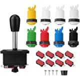 Arcade Parts Bundles Kit, MoPei Arcade Games Accessories Kit with 1 Joystick, 8 Microswitch, 8 Push Buttons (1P 2P buttons & 6pcs Color Buttons ) fai da te for Arcade Video Game Multicade MAME Jamma Game