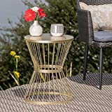 Great Deal Furniture Fern Outdoor 16 Inch Matte Gold Iron Side Table
