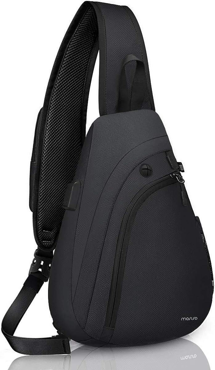 MOSISO Sling Backpack Hiking Daypack with USB Charging Port Outdoor Shoulder Bag