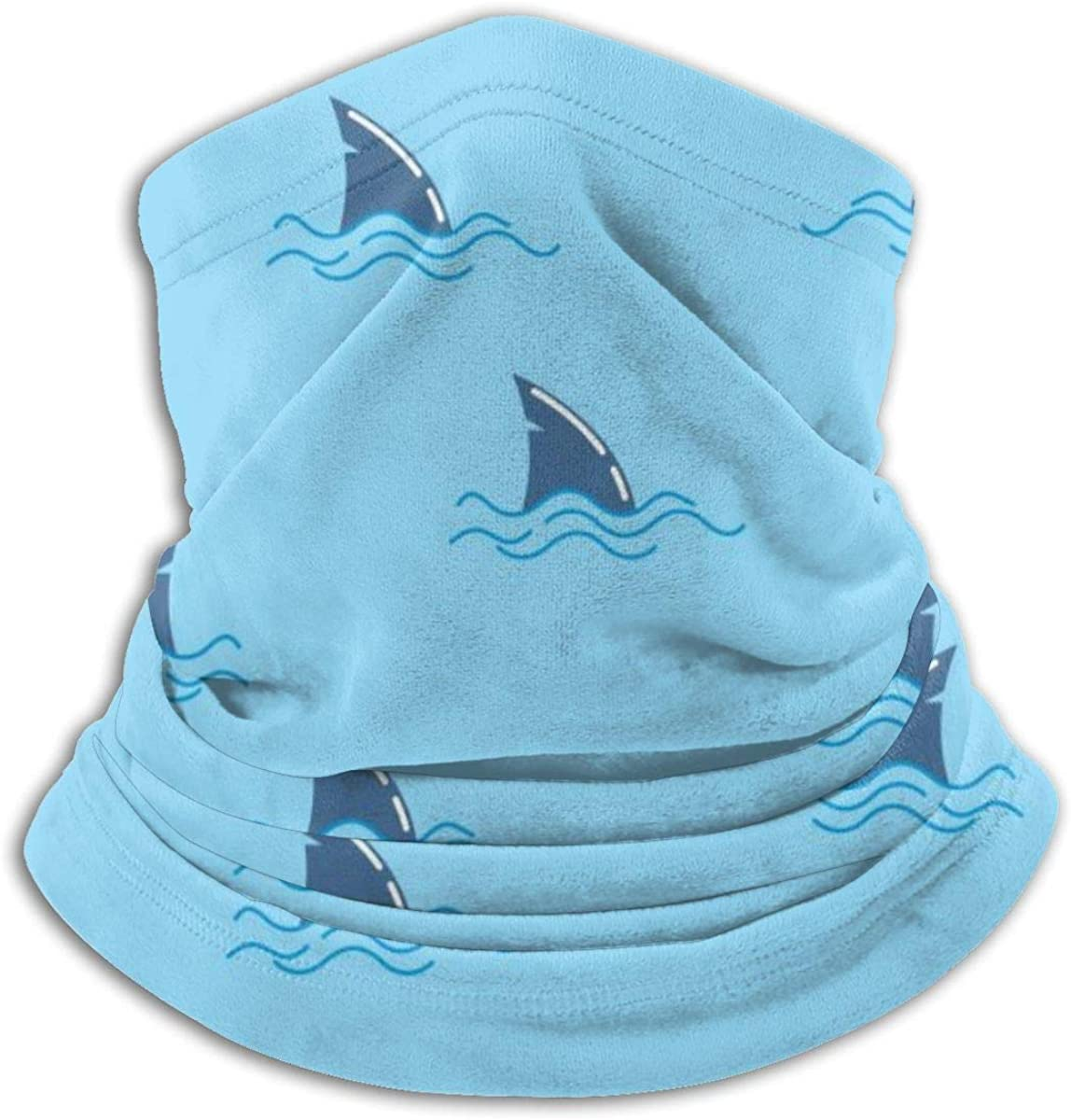 Shark Whale Dolphin Fin Neck Warmer Gaiter Windproof Mouth Face Mask Scarf for Men Women Black