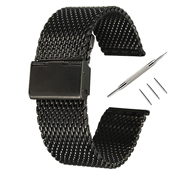 Pinhen 22MM Watch Band Steel Stainless Metal Watchband Replacement Watch Strap For ASUS Zenwatch 2, 46mm moto 360 2nd,Pebble time,TIME STEEL,Samsung ...