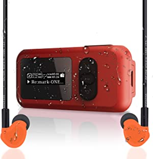 SUNNZO 8GB Waterproof IP68 Swimming MP3 Player with Screen, Rotatable Clip,USB Port, More Than 10 Hours Playback, withstands Submersion to 3M,Support FM Radio and Pedometer Function