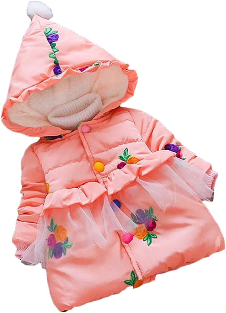 Nicelly Girls Princess Warm Novelty Print Hooded Down Coat Overcoat