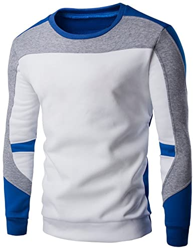 BOLAWOO Camisa De Rayas Hombre para De Dos Camisa Colores Mode De Marca Camisa De Retazos Camisetas De Entrenamiento Polos Deportivos Sudadera De Cuello Redondo Casual Suelta De Manga Larga: Amazon.es: Ropa