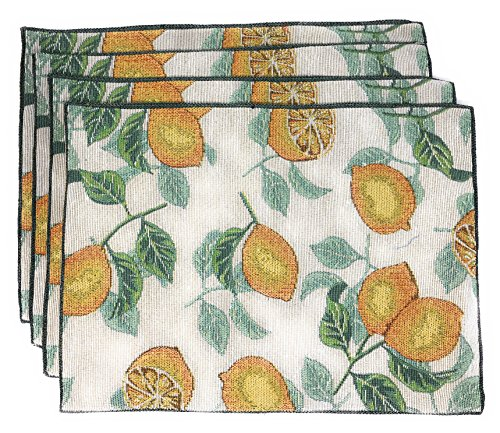 Windham Home Spring Tapestry Placemats, Set of 4 (Lemons)
