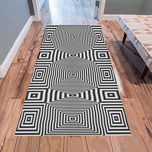 AnnHomeArt Flickering geometric optical illusion Area Rug Modern Carpet Runner Rug 7'x3'3''