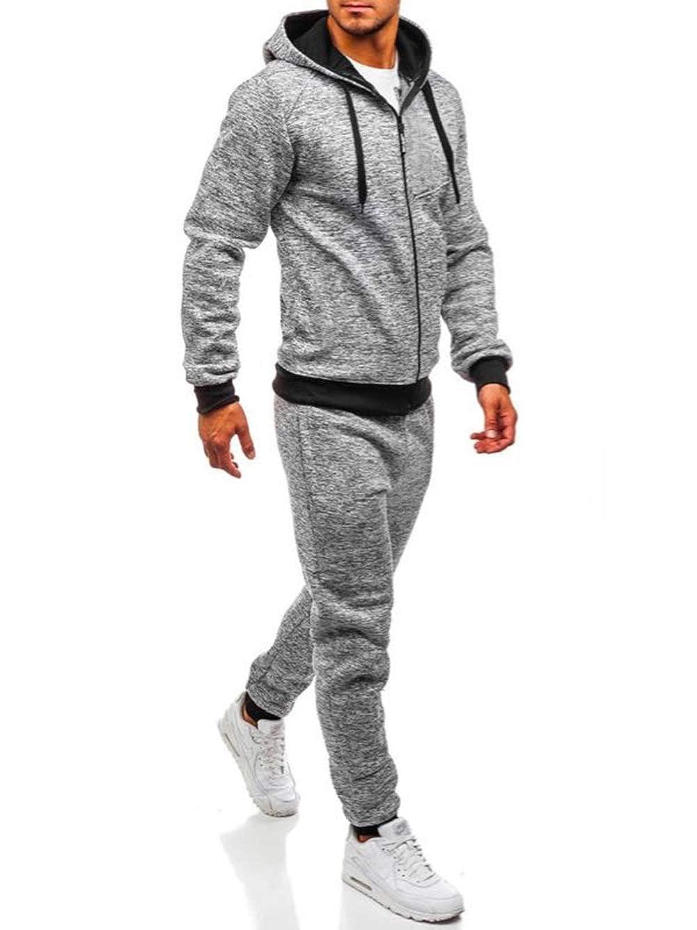Herren Tarnfarbe Trainingsanzug Set Kapuze Top Joggen Jogginghosen Sweat Hose