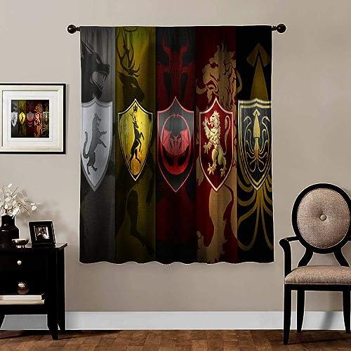 MVNTOO A Game of Throne RPG Home Fashion Blackout Door Curtain Panel Darkening Curtains W55 xH72
