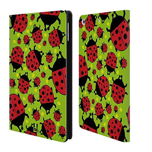 Head Case Designs Green Ladybug Bugged Life Leather Book Wallet Case Cover Compatible for iPad Mini 4