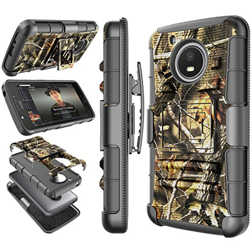 Moto E4 Plus Case, 2017 Motorola Moto E Plus 4th Generation Holster Clip, Tekcoo [Hoplite] Shock Absorbing [Camo Leaf] Swivel Locking Belt Heavy Full Body Kickstand Carrying Camouflage Cases Cover
