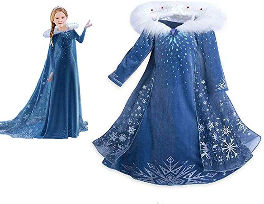 Jusdo Snow Princess Costume Girls Cosplay Fancy Dress Queen Birthday Party Dress 3-8T