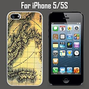 Italy Map Custom Case/ Cover/Skin *NEW* Case for Apple iPhone 5/5S - White - Plastic Case (Ships from CA) Custom Protective Case , Design Case-ATT Verizon T-mobile Sprint ,Friendly Packaging - Slim Case