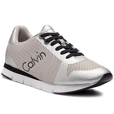 Calvin Klein Sneacker Uomo in Tessuto Argento SE8603 Modello Jacques. Scarpe in Tessuto.Primavera Estate 2019