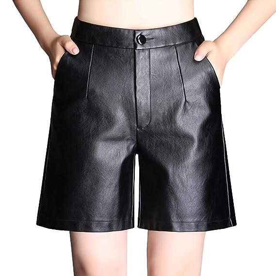 b8fed4ae79 DISSA F7672 Shorts Pantalons Court Taille Haute Mince Cuir PU Femme,Noir,M,