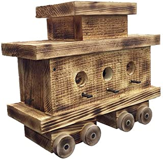 product image for Furniture Barn USA Train Caboose Bird House with Twisted Rope Hanger & Clean Out in Burnt Pine