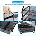 Simple Trending 5-Trays Mesh Desktop File Organizer Vertical Document Letter Tray Holder with Drawer Organizer for Office Home, Black