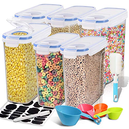 Cereal Container, EAGMAK Airtight Dry Food Storage Containers, BPA Free Large Kitchen Pantry Storage Container for Flour, Snacks, Nuts & More (Set of 6)