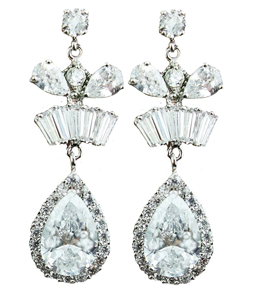 NEW 2.0 ct Drop Earring Gift for Her Austria Crystal Rose gold long chain Mum