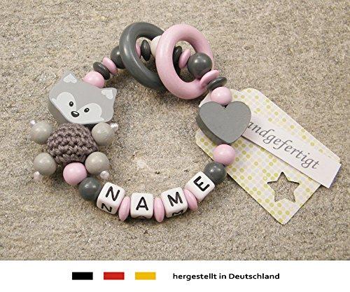 Baby Greifling Beißring geschlossen mit Namen | individuelles Holz Lernspielzeug als Geschenk zur Geburt & Taufe | Mädchen Motiv Fuchs und Herz in grau rosa kleinerStorch