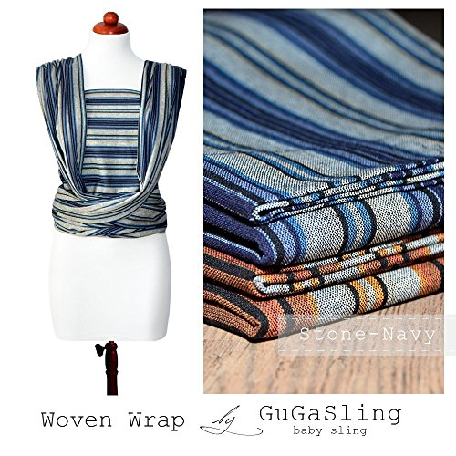 Baby woven wrap GuGaSling Stone-Navy for newborn and toddler Cotton baby carrier Babyshower gift ()