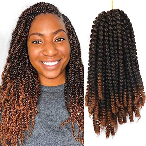 3 Pack 8inch Spring Twist Crochet Braids Bomb Twist Crochet Hair Ombre Colors Synthetic Fluffy Hair Extension - Strand Three Twist