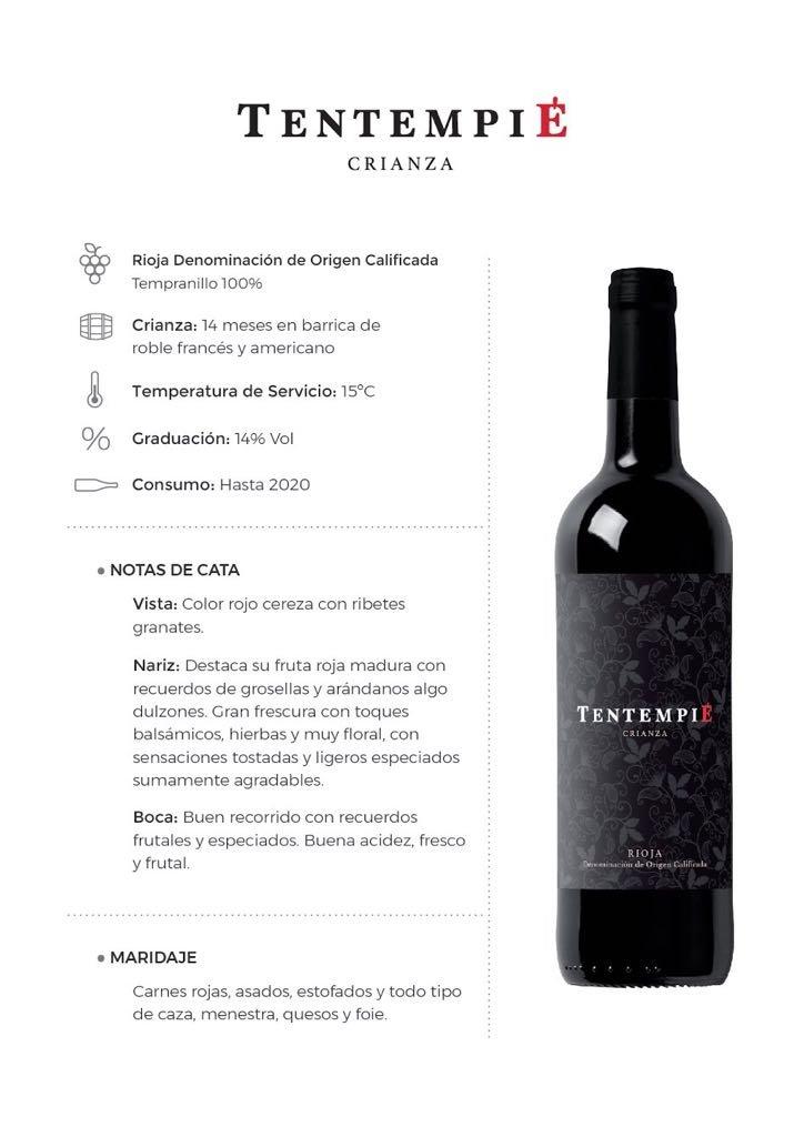 TENTEMPIÉ Vino Rioja Crianza 2015 (caja de 12 unidades): Amazon.es: Alimentación y bebidas
