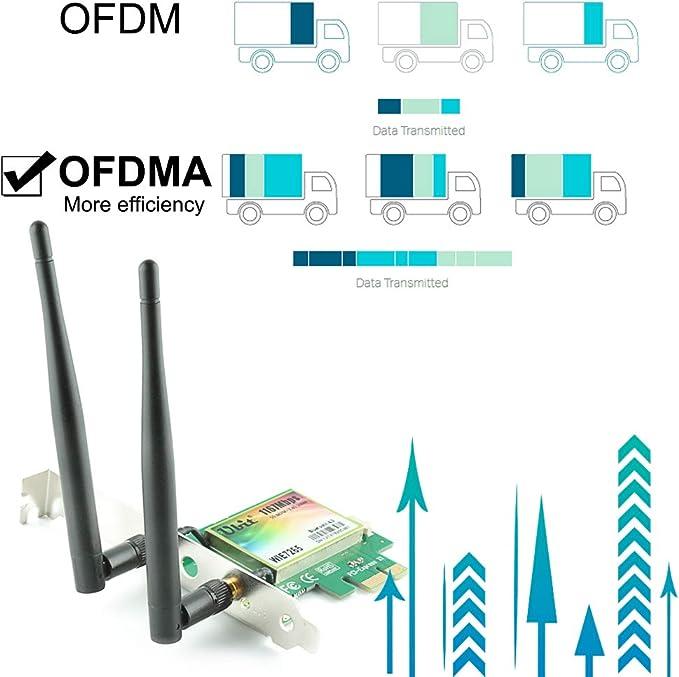 Ubit Bluetooth WiFi Card AC 1200Mbps, WiFi inalámbrica PCIe Adaptador de Red Tarjeta de Red PCI Express de Banda Dual de 5GHz / 2.4GHz con Bluetooth ...