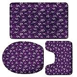 3 Piece Bath Mat Rug Set,Indigo,Bathroom Non-Slip Floor Mat,Abstract-Lily-Flowers-Pattern-Country-Garden-Spring-Summer-Season-Themed-Image,Pedestal Rug + Lid Toilet Cover + Bath Mat,Purple-Lilac