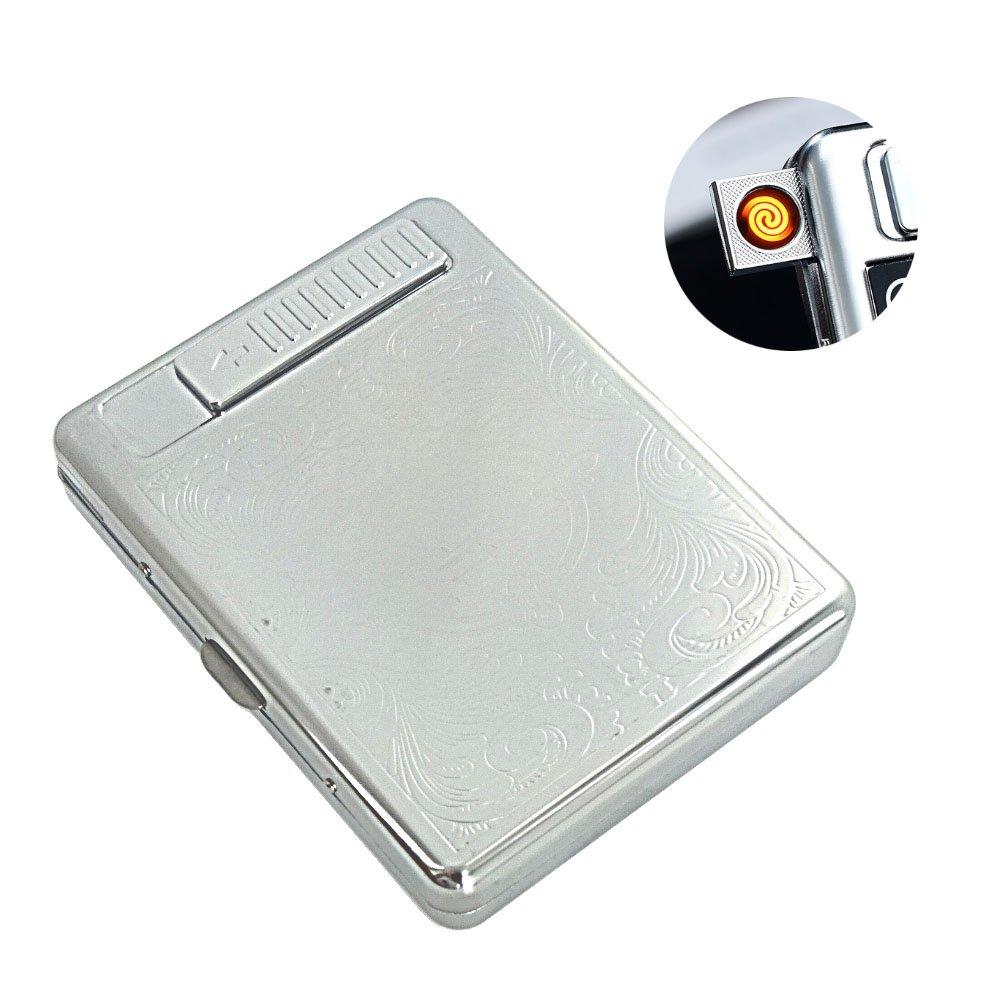 Flameless Windproof Rechargeable Electronic Lighter USB Cigarette Lighter Built-in Cigarette Case/Cards Box/Cigarette Holder Could Pack 20 Regular Cigarettes (Silver)