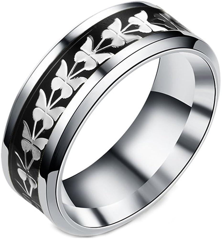 JAJAFOOK Women Men Fashion Simple Style Stainless Steel Butterfly Rings Jewelry,Size 6-13